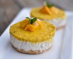 Mini Vegan Paleo Raw Mango and Passionfruit Cheesecakes