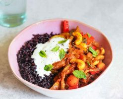 Moroccan Spiced Vegetables with Cashews & Black Rice
