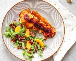Baked Salmon With Oranges & Cranberry Sauce